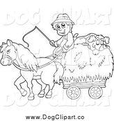 Vector Cartoon Clip Art of a Black and White Male Farmer with a Horse and Dog Sleeping on Hay by Visekart