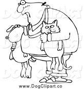 Vector Cartoon Clip Art of a Black and White Man Holding a Dog and Cat by Djart