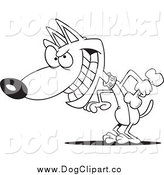 Vector Cartoon Clip Art of a Black and White Psychotic Dog Holding a Bone by Toonaday