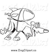 Vector Cartoon Clip Art of a Black and White Rocket Strapped to a Greyhound by Toonaday