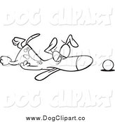 Vector Cartoon Clip Art of a Black and White Tired Dog Collapsed by His Ball by Toonaday