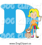 Vector Cartoon Clip Art of a Blond Girl Petting a Dog over Letter D by Maria Bell