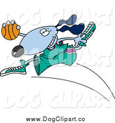 Vector Cartoon Clip Art of a Blue Basketball Dog by Toonaday