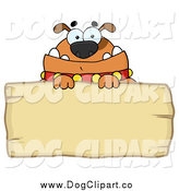Vector Cartoon Clip Art of a Brown Bulldog over a Wooden Sign by Hit Toon