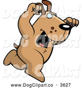 Vector Cartoon Clip Art of a Brown Dog Attacking by Cory Thoman