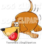 Vector Cartoon Clip Art of a Brown Dog Mascot Cartoon Character Chewing on a Red Ball by Toons4Biz