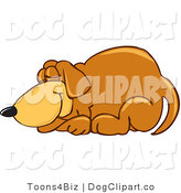 Vector Cartoon Clip Art of a Brown Dog Mascot Cartoon Character Curled up and Sleeping the Day Away by Toons4Biz