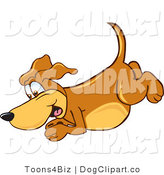 Vector Cartoon Clip Art of a Brown Dog Mascot Cartoon Character Diving or Jumping into the Water by Toons4Biz