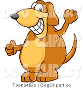 Vector Cartoon Clip Art of a Brown Dog Mascot Cartoon Character Grinning and Waving Hi by Toons4Biz