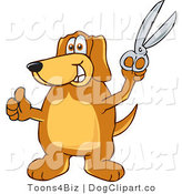 Vector Cartoon Clip Art of a Brown Dog Mascot Cartoon Character Holding a Pair of Silver Scissors by Toons4Biz
