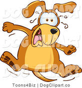 Vector Cartoon Clip Art of a Brown Dog Mascot Cartoon Character Leaping in Shock by Toons4Biz