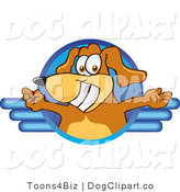 Vector Cartoon Clip Art of a Brown Dog Mascot Cartoon Character Logo with Open Arms on Top of a Blue Line Design by Toons4Biz