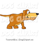 June 16th, 2012: Vector Cartoon Clip Art of a Brown Dog Mascot Cartoon Character Pointing a Finger While Sniffing Something out by Toons4Biz