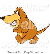 Vector Cartoon Clip Art of a Brown Dog Mascot Cartoon Character Walking Forward with an Angry Grumpy Expression by Toons4Biz