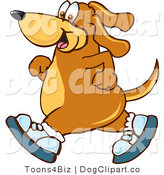 Vector Cartoon Clip Art of a Brown Dog Mascot Cartoon Character Wearing Tennis Shoes and Taking a Walk to the Left by Toons4Biz