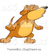 Vector Cartoon Clip Art of a Brown Dog Mascot Cartoon Character with Closed Eyes, Singing or Howling up at the Sky by Toons4Biz