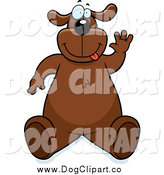 Vector Cartoon Clip Art of a Brown Dog Sitting up and Waving by Cory Thoman