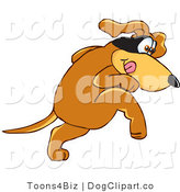 Vector Cartoon Clip Art of a Brown Pooch Mascot Cartoon Character with a Mask over His Eyes, Being Sneaky by Toons4Biz