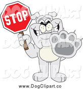 Vector Cartoon Clip Art of a Bulldog Holding a Stop Sign by Toons4Biz