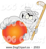Vector Cartoon Clip Art of a Bulldog Mascot Holding a Field Hockey Ball by Toons4Biz