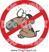 Vector Cartoon Clip Art of a Cartoon Restricted No Dog Sign by Toonaday