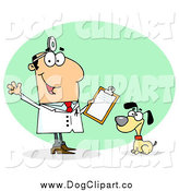 Vector Cartoon Clip Art of a Caucasian Veterinarian Man with a Dog by Hit Toon
