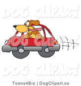 Vector Cartoon Clip Art of a Cheerful Brown Dog Mascot Cartoon Character Sticking His Head out of a Car Window by Toons4Biz