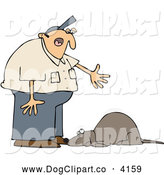 Vector Cartoon Clip Art of a Chubby Man Yelling at a Bad Dog by Djart