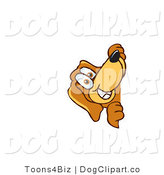 Vector Cartoon Clip Art of a Curious Brown Dog Mascot Cartoon Character Peeping Around a Corner by Toons4Biz