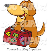 Vector Cartoon Clip Art of a Cute Brown Dog Mascot Cartoon Character Carrying Luggage by Toons4Biz