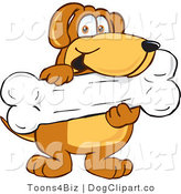 Vector Cartoon Clip Art of a Cute Brown Dog Mascot Cartoon Character Holding a Big Doggy Bone Treat by Toons4Biz