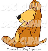 Vector Cartoon Clip Art of a Cute Brown Dog Mascot Cartoon Character, Tired and Worn Out, Sleeping While Sitting up by Toons4Biz