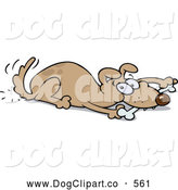 Vector Cartoon Clip Art of a Cute Playful Brown Dog Wagging His Tail and Chewing on a Bone While Laying down by Gnurf