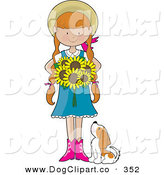 Vector Cartoon Clip Art of a Cute Sunflower Girl and Her Little Dog by Maria Bell