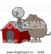 Vector Cartoon Clip Art of a Dog Attaching a Satellite Dish to His House by Djart