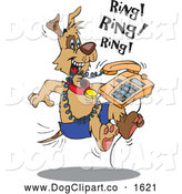 Vector Cartoon Clip Art of a Dog Attacking a Ringing Desk Phone by Dennis Holmes Designs