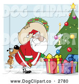 Vector Cartoon Clip Art of a Dog Biting a Black Santas Rear by a Christmas Tree over Blue by Hit Toon