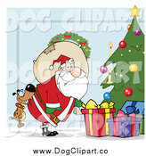 October 15th, 2014: Vector Cartoon Clip Art of a Dog Biting Santa's Butt by a Christmas Tree by Hit Toon