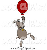 Vector Cartoon Clip Art of a Dog Floating with a Balloon by Djart