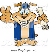 Vector Cartoon Clip Art of a Dog Graduage Holding His Diploma and Gesturing Peace by Dennis Holmes Designs