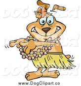 February 21st, 2014: Vector Cartoon Clip Art of a Dog Hula Dancer by Dennis Holmes Designs