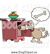 November 25th, 2014: Vector Cartoon Clip Art of a Dog Peeking in a Cabinet for a Bone by Gnurf