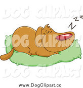 Vector Cartoon Clip Art of a Dog Sleeping on His Pillow by Yayayoyo