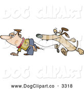 Vector Cartoon Clip Art of a Dog Walking a Man on a Leash by Toonaday