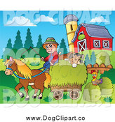 Vector Cartoon Clip Art of a Farmer with a Horse and Dog Cart by Visekart