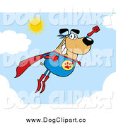 Vector Cartoon Clip Art of a Flying Super Hero Dog Flashing a Smile in the Sky by Hit Toon