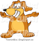 July 23rd, 2012: Vector Cartoon Clip Art of a Friendly and Smiling Brown Dog Mascot Cartoon Character with Open Arms for a Hug by Toons4Biz
