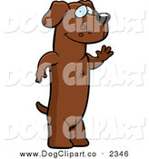 Vector Cartoon Clip Art of a Friendly Brown Daschund Standing on His Hind Legs and Waving by Cory Thoman