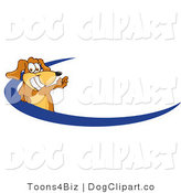 June 5th, 2012: Vector Cartoon Clip Art of a Friendly Brown Dog Mascot Cartoon Character Logo with a Blue Swish by Toons4Biz