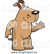 Vector Cartoon Clip Art of a Friendly Brown Dog Standing on His Hind Legs and Waving by Cory Thoman